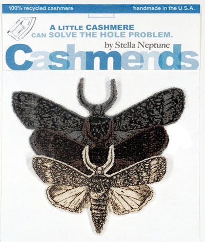Image of Iron-on Cashmere Moths - Brown/Grey/Cream