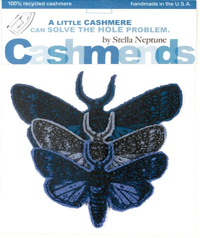 Image of Iron-on Cashmere Moths - Triple Blue