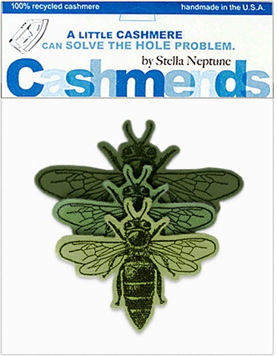 Image of Iron-On Cashmere Bees - Triple Green
