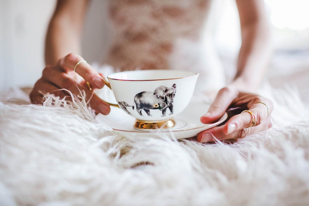 Image of Golden Elephant Tea Cup & Saucer Set