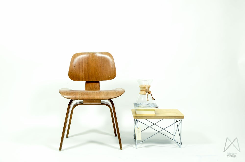 Image of Eames Herman Miller DCW 5-2-4 Ash plywood dining height chair