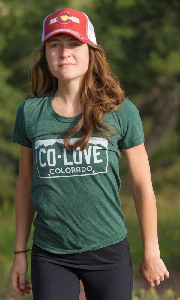 Image of Colorado Love License Plate Tee- Women's  Green