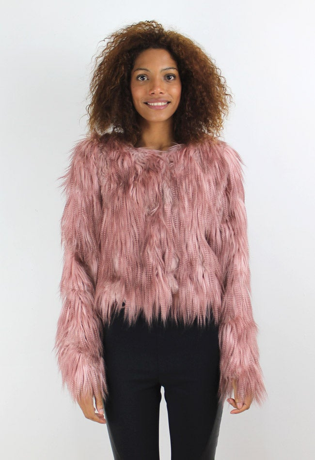 Image of PINK FAUX FUR JACKET