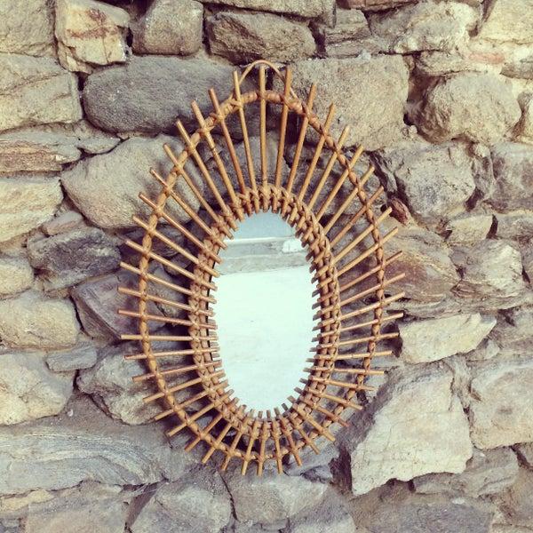Image of EYES Miroir en rotin