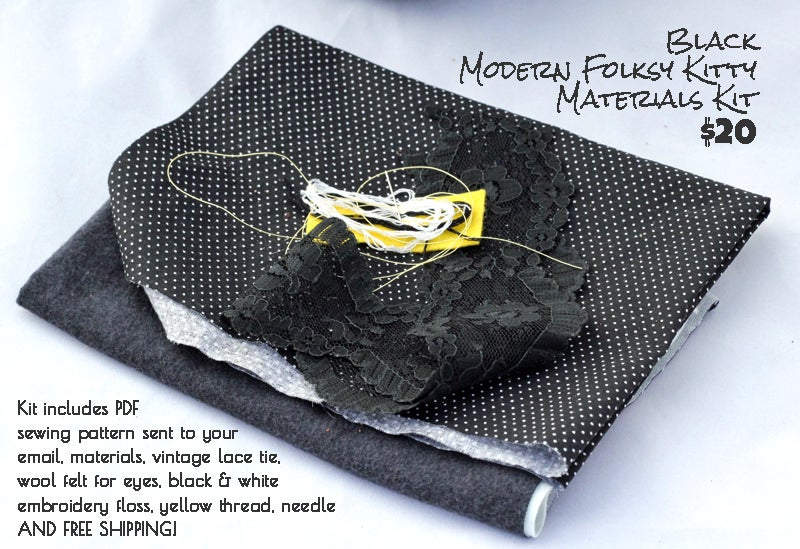 Image of Black Modern Folksy Kitty Sewing Kit and pattern