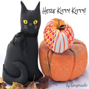 Image of Black Modern Folksy Kitty Sewing Kit