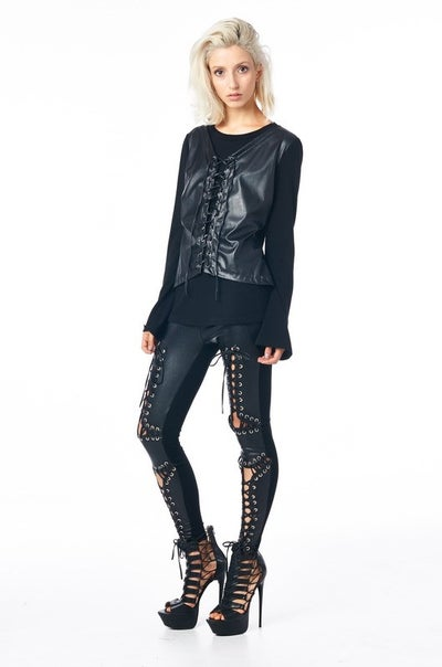 Image of Cross Culture leather front leggings