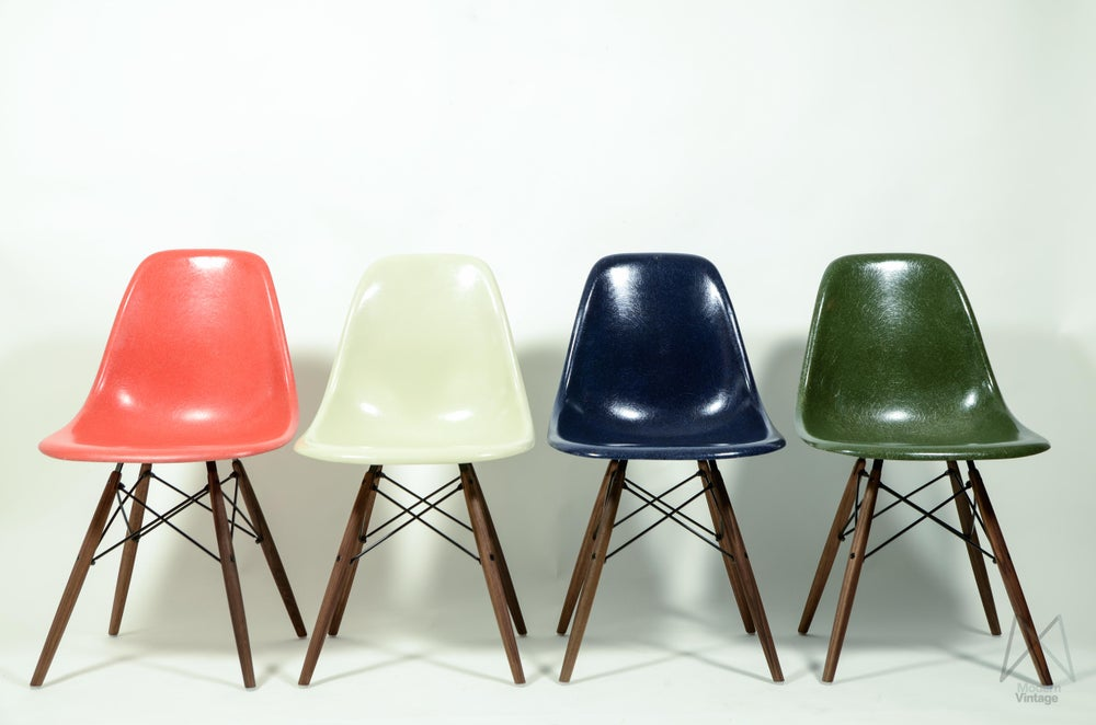 Image of Eames Herman Miller Multi Color Set of Four Salmon Parchment Green Blue