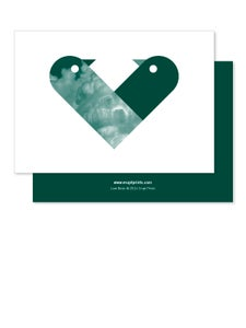 Image of Greeting Card - Love Birds - Dark Green