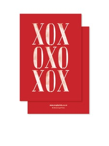 Image of Greeting Card - XOX - Red