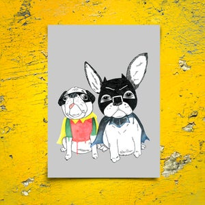 Image of FRENCHIE & PUG - DYNAMIC DUO (GREY)