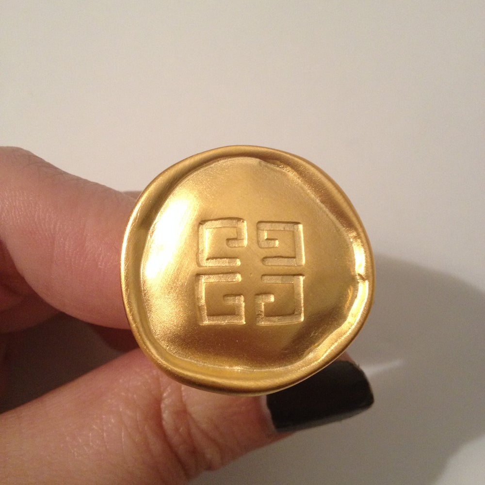 Image of VOGUE ITALIA Givenchy Earrings - Vintage Brushed Matte Gold Logo Earrings in MINT CONDITION
