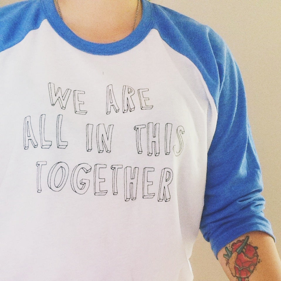 Image of we are all in this together raglan tee - everest green