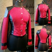 Image of The Red Tweed and Leather Moto Jacket