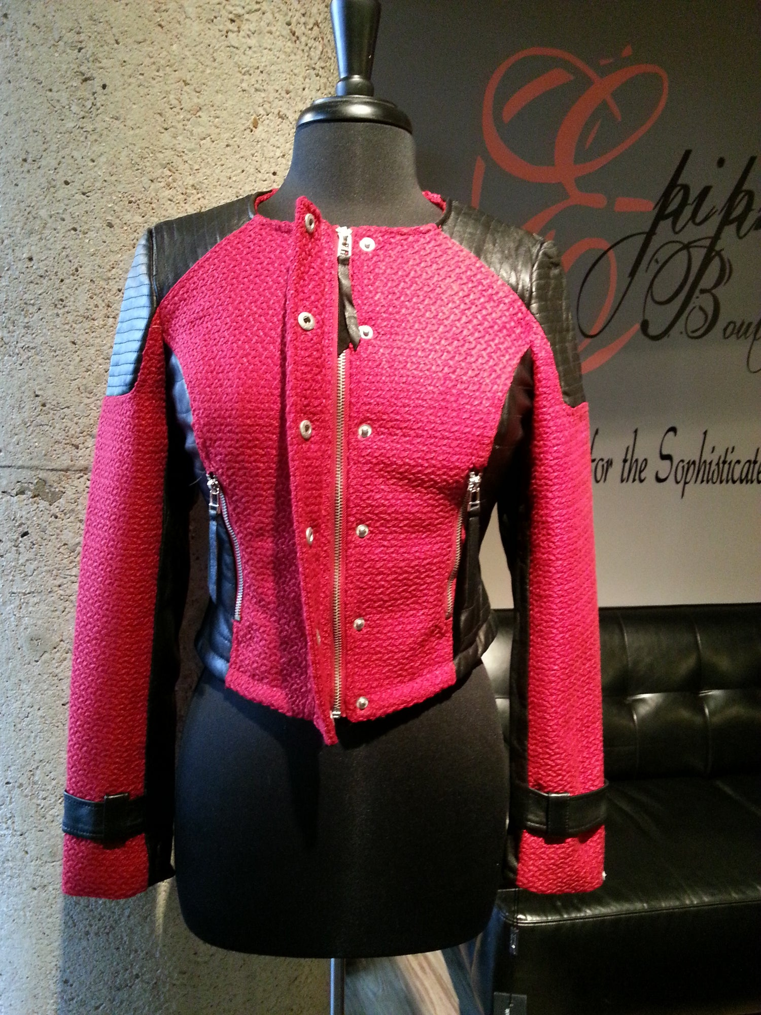 Image of The Red Tweed and Leather Moto Jacket**FLASH SALE**