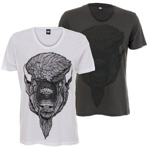 Image of Bison Unisex Scoop-Neck Tee - Charcoal OR White
