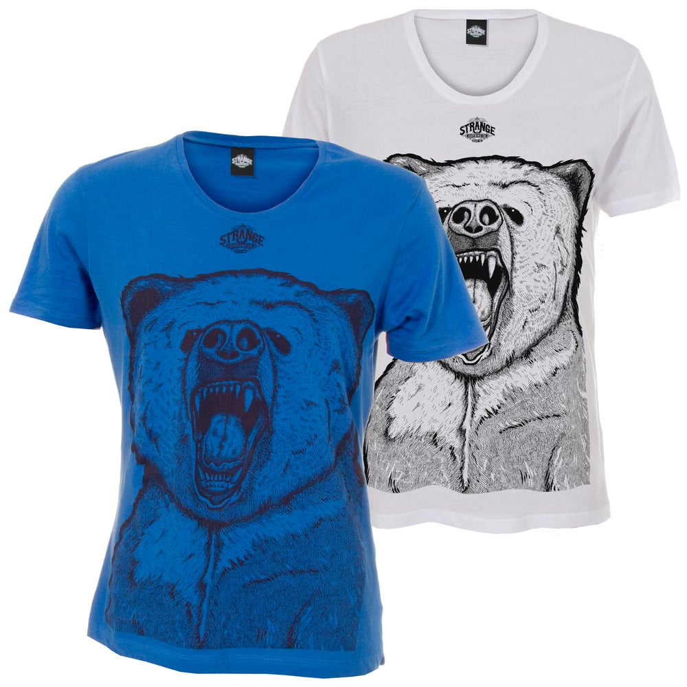 Image of Bear Scoop Neck: White or Blue (Unisex Scoop-Neck Tee)
