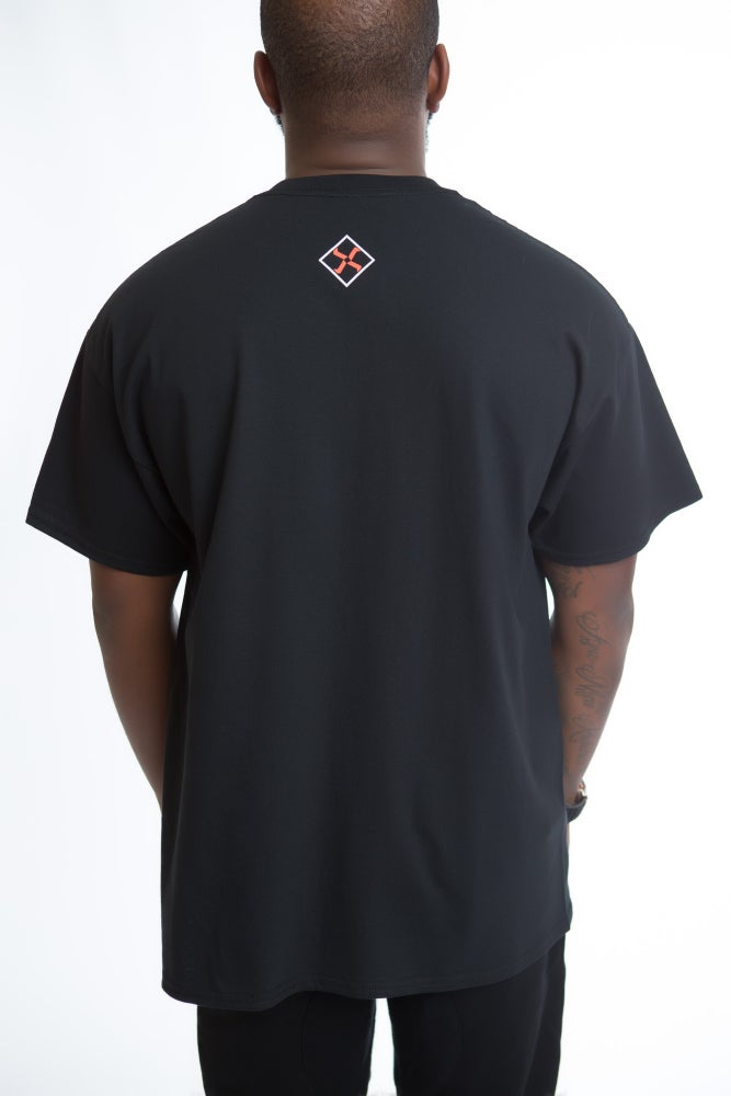 Image of DEATH STAR TEE (BLACK/ORANGE)