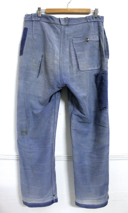 Image of 1920'S FRENCH BLUE MOLESKIN PANTS FADED & PATCHED