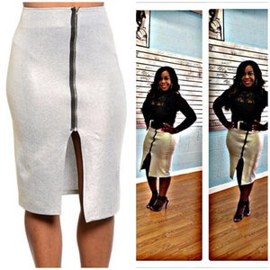 Image of Silver Bodycon skirt with zipper