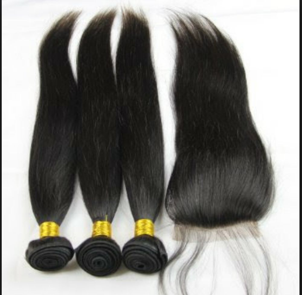 Image of  Brazilian Straight 3 Bundles with Lace Closure