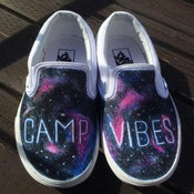 Image of Camps Vibes Galaxy Vans slip ons.