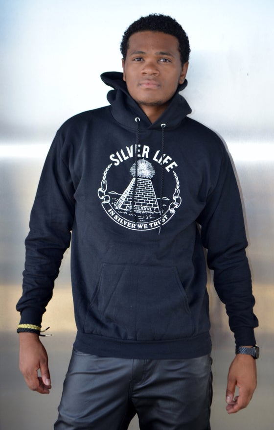 Image of Black/White In Silver We Trust Hoodie