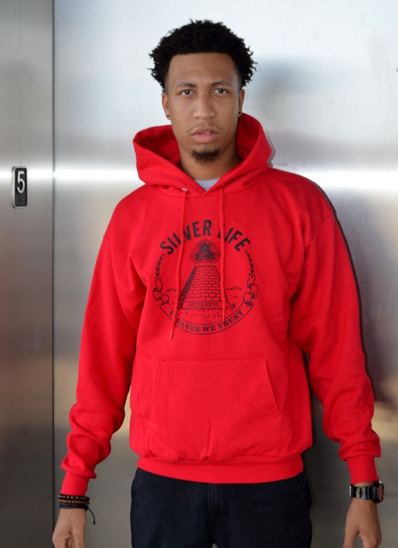 Image of Red/Blk In Silver We Trust Hoodie