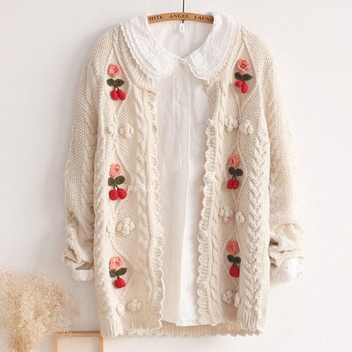 Image of FLORAL HAND KNITTED CARDI