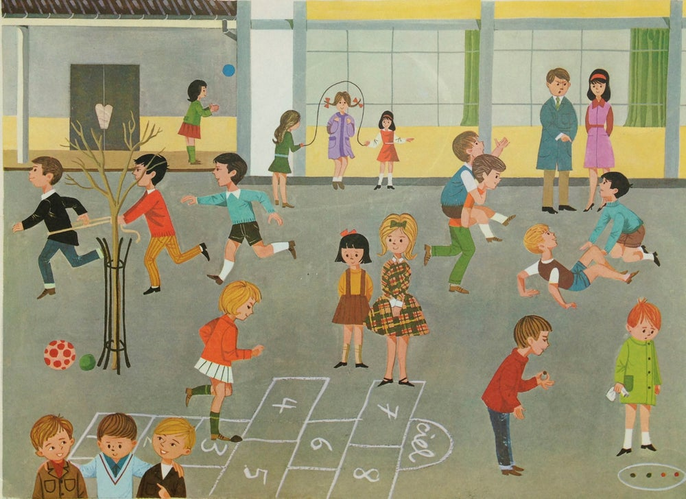 Image of Vintage School Poster - School Playground 1966