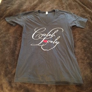 Image of Caleb Lovely Heart in script V neck for ladies
