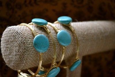 Image of Turquoise button bangle