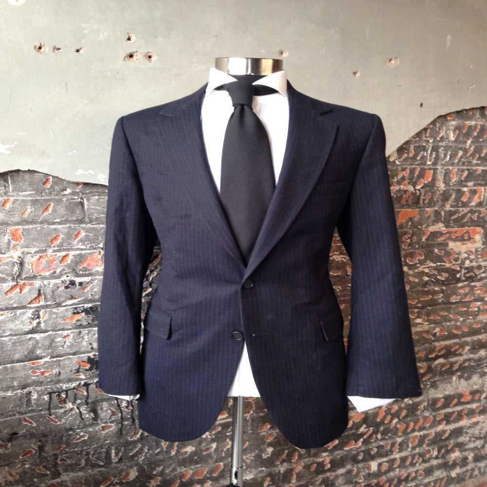 Image of Navy Blue Pinstripe Blazer