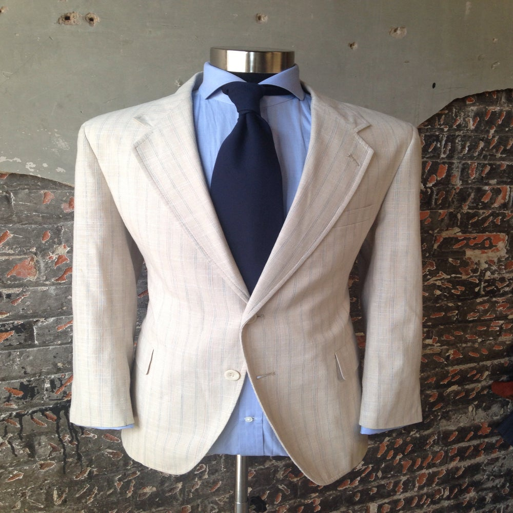 Image of Beige & Blue Plaid Blazer