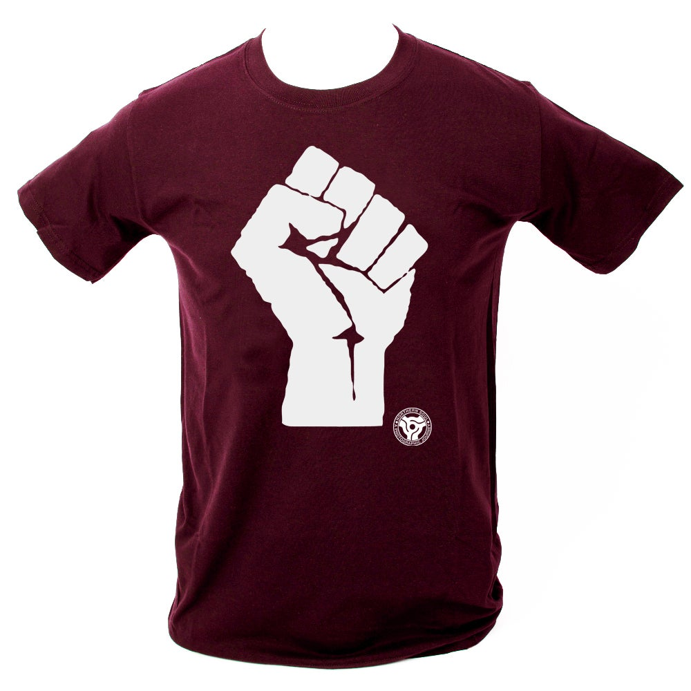 Northern soul photo store 39 soul fist 39 t shirt maroon for Big cartel t shirts