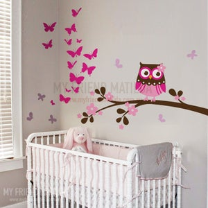 Image of NEW Owl and Butterfly Butterflies Wall Decal Sticker