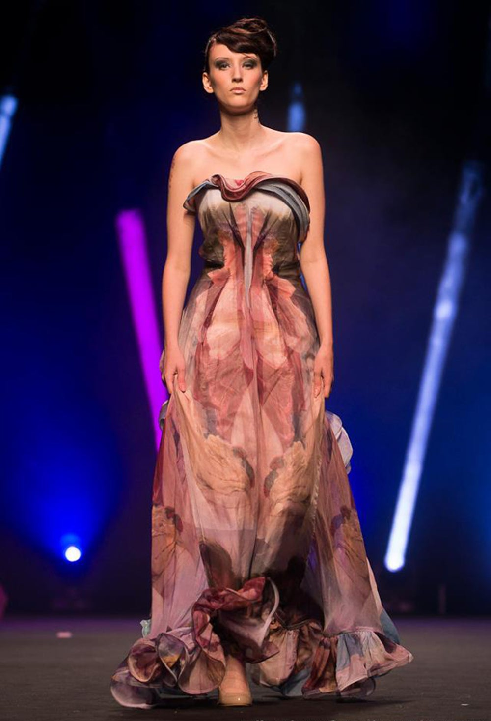 Image of Soft Floral Runway Gown
