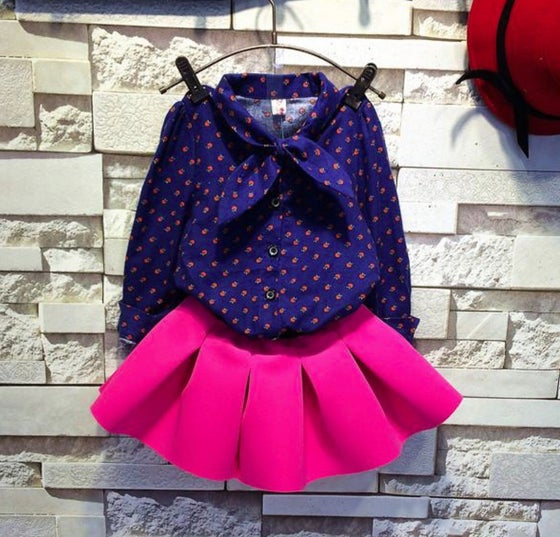Image of Girls Pink Amour Winter Skirt Set