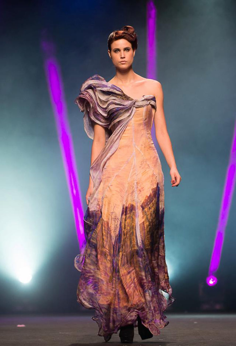 Image of Purple One Shoulder Runway Gown