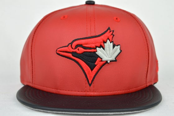 Image of TOR. BLUE JAYS CUSTOM RED, BLK & GREY LEATHER NEW ERA 9FIFTY STRAPBACK CAP