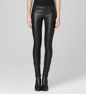 Image of Helmut Lang Black Leather Leggings