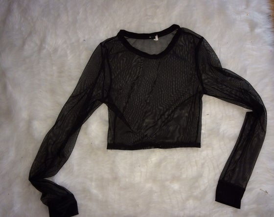 Image of Sheer cropped long sleeve shirt