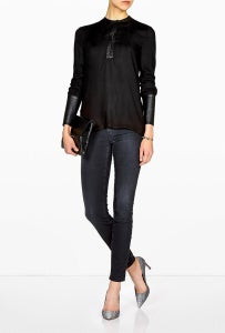 Image of helmut lang - 100% leather trim split feathery blouse