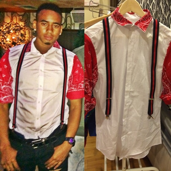 Image of Custom Red Bandana sleeve and collar button down shirt