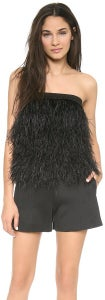 Image of Robert Rodriguez Black Ostrich Feather Top