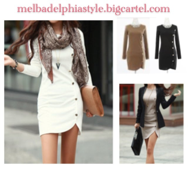 Image of Pullover Dress w/ Trendy Buttons - Long Sleeves