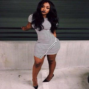 Image of Black and white stripe draped mini dress