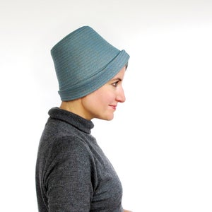 Image of Crushable tall crown women's wool top hat / cloche hat in soft blue : Slopestyle