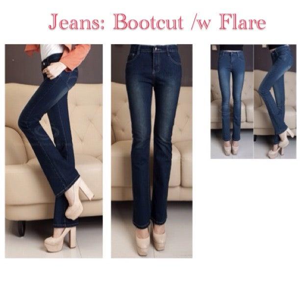 Image of Boot Cut Slender Jeans w/ Slight Flare (Medium Rise)