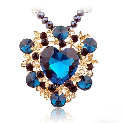 Image of [grxjy5100326]Retro Heart of Ocean Heart-shaped Crystal Pendant Necklace